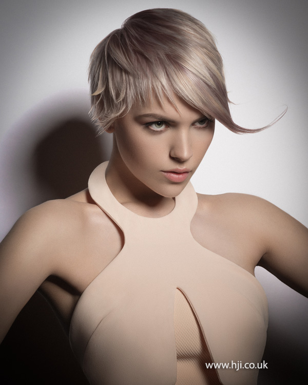 Layered blonde crop with sweeping fringe