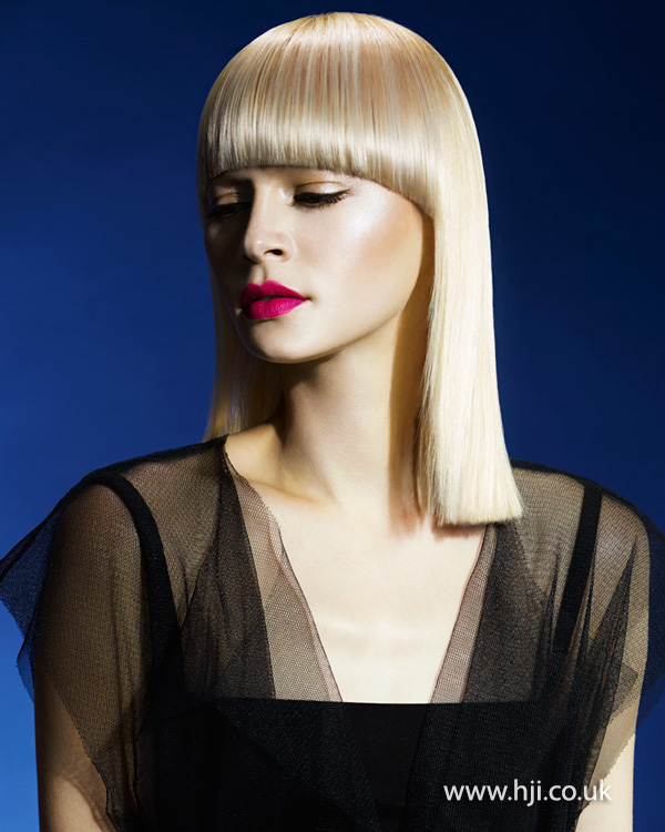 2015 long blonde bob hairstyle with curving fringe