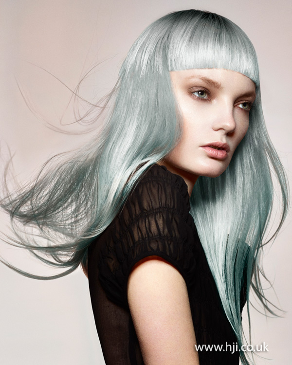 2015 long grey blue hair with fringe