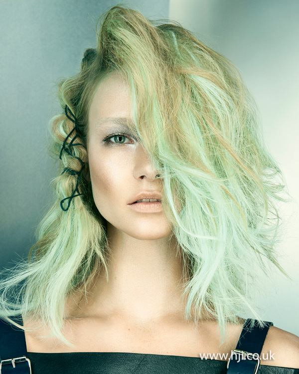 2015 mint green and blonde wavy hairstyle