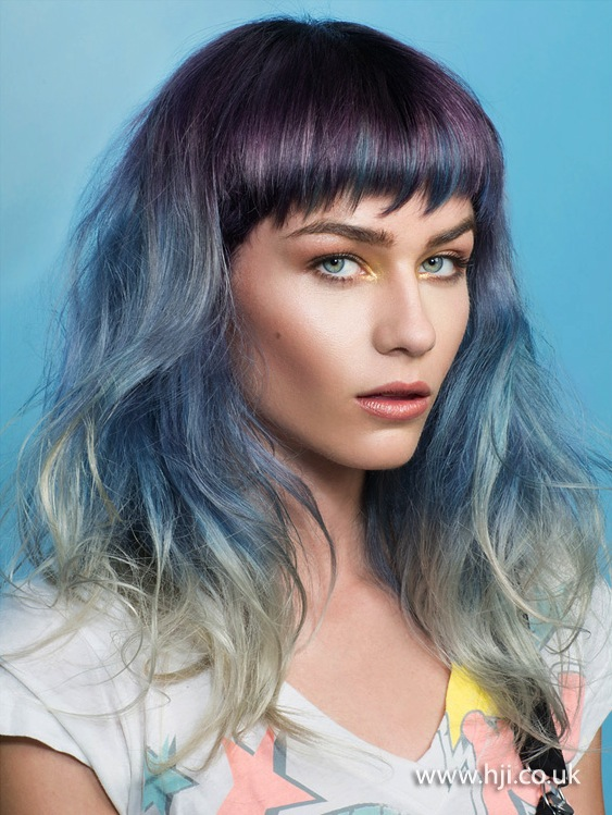 2015 navy blue to pastel blue ombre hairstyle