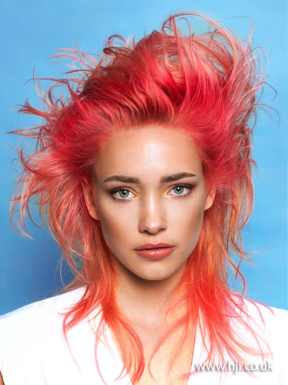 2015 neon coral hairstyle