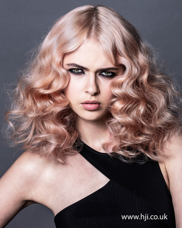 2015 pastel pink women's curly hairstyle