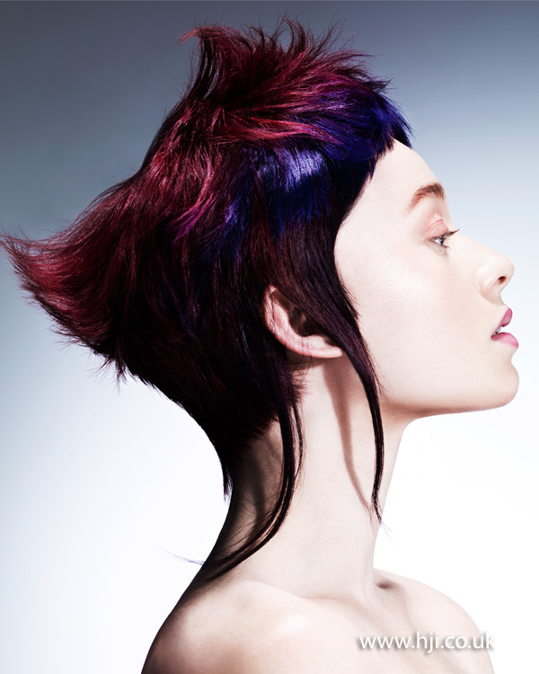 2015 punky purple and red crop hairstyle