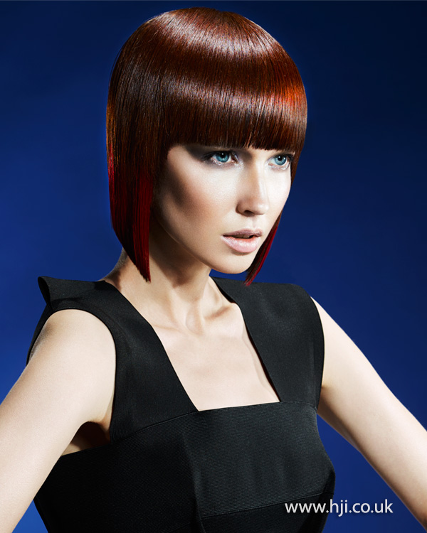 2015 red bob hairstyle with colour panel fringe