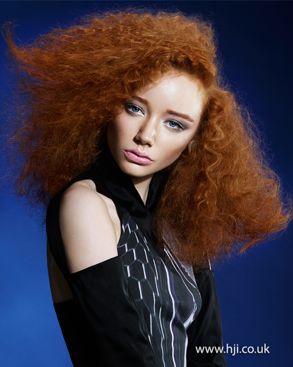 2015 side parted red curly blunt cut hairstyle