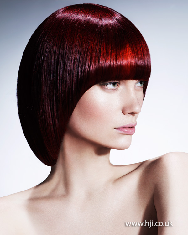 2015 smooth red pageboy cut with fringe