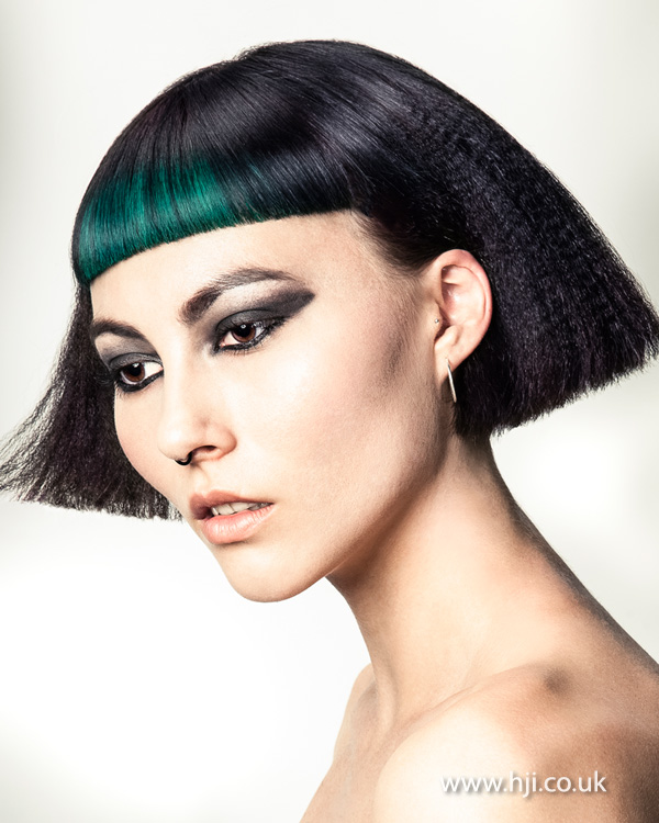 Black crimped bob with statement fringe by Joseph Ferraro