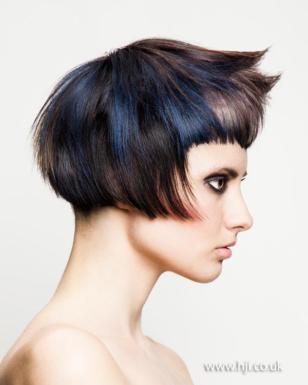 Cropped bob hairstyle with visor fringe by Joseph Ferraro