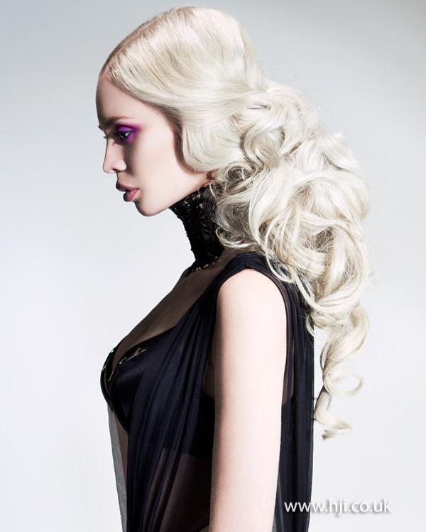 Platinum blonde sleek curls by Jill Watkins-Wright