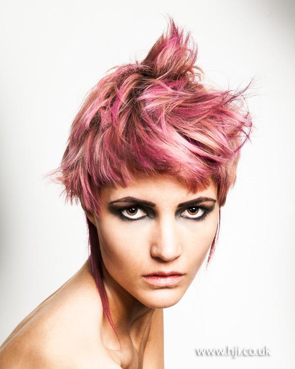 Pink layered pixi crop hairstyle