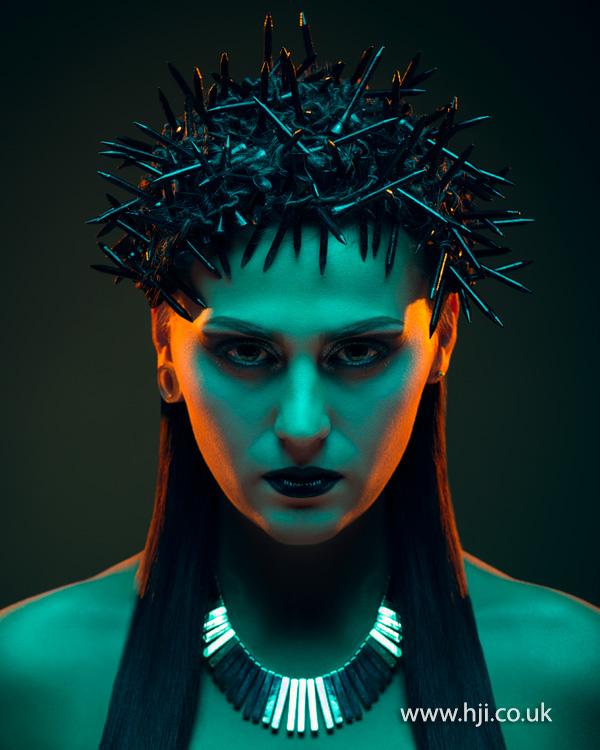Sleek black hair with spikes by Matthew Sutcliffe