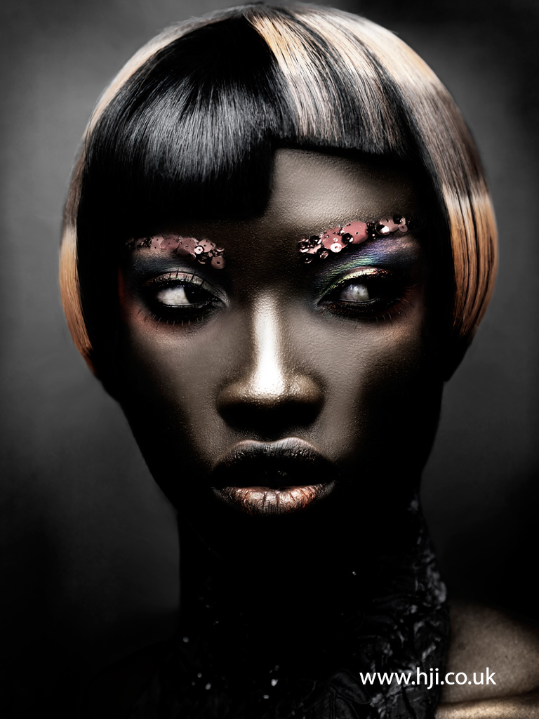 2015 black bob hairstyle with graphic colour panels
