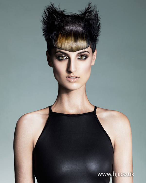 Black cropped style with statement fringe by Melanie Tudor