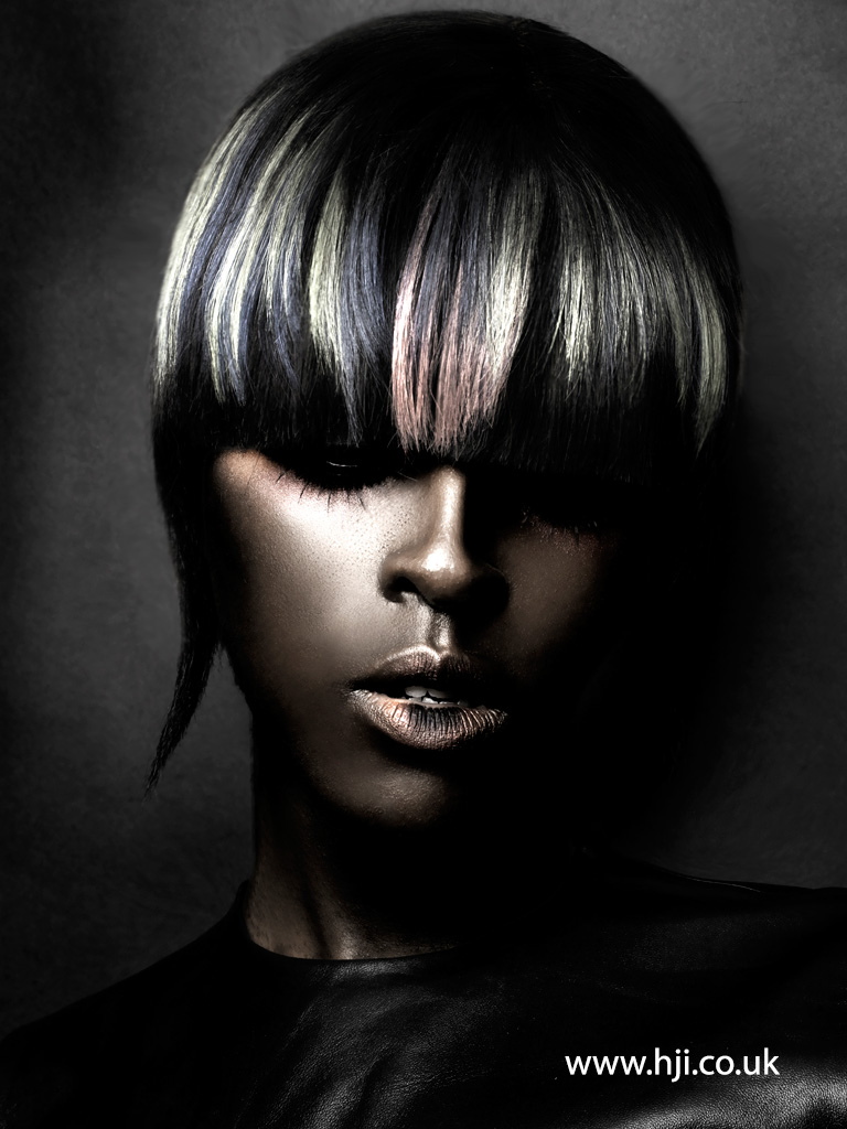 2015 black long bob hairstyle with pastel detail