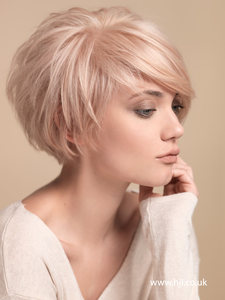 2015 blonde layered crop with sweeping fringe