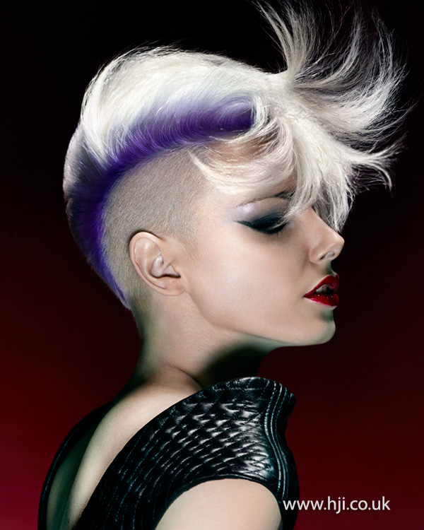 Blonde undercut with purple root stretch by Steven Smart