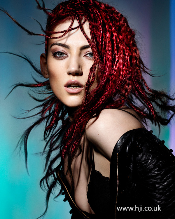 Cherry red loose braids by Sophie Beattie