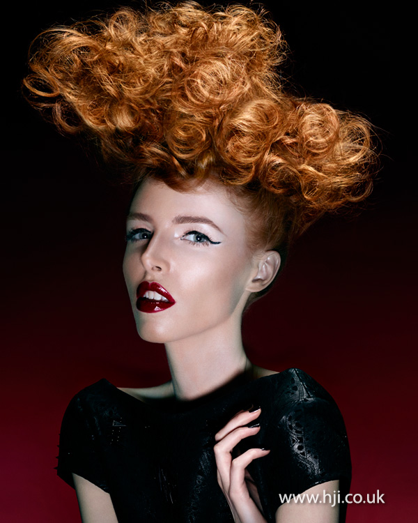 Curly red updo by Steven Smart