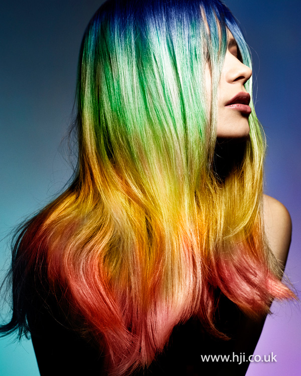 Ombre rainbow hairstyle by Sophie Beattie