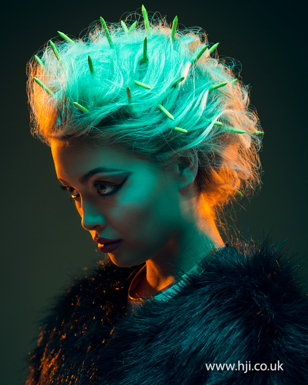 Blonde updo with neon detail by Mathew Sutcliffe