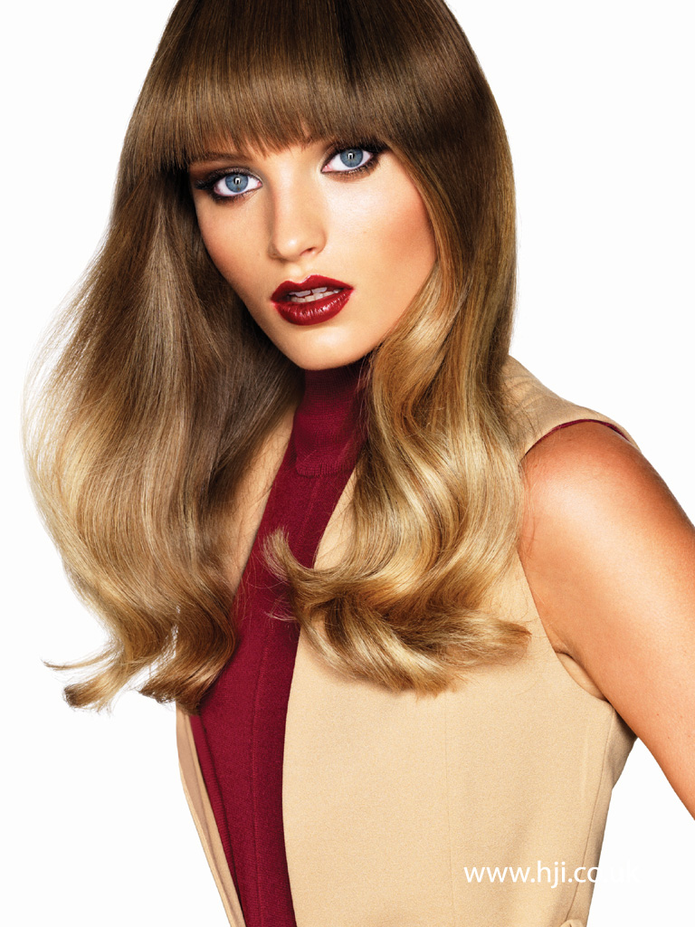 2015 bronde glossy loose waves hairstyle with fringe