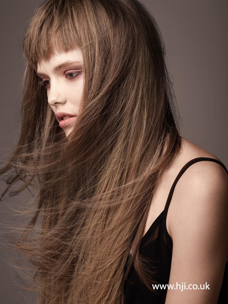 2015 long straight messy brunette with fringe