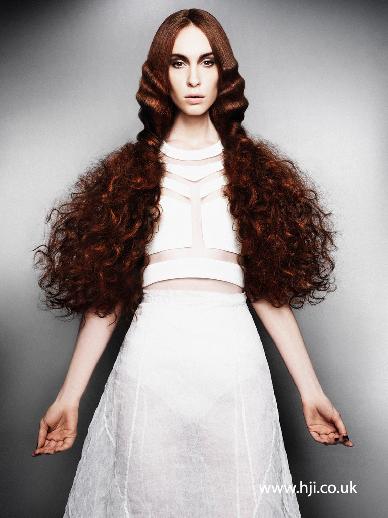 2015 redhead multi textured hairstyle with centre parting