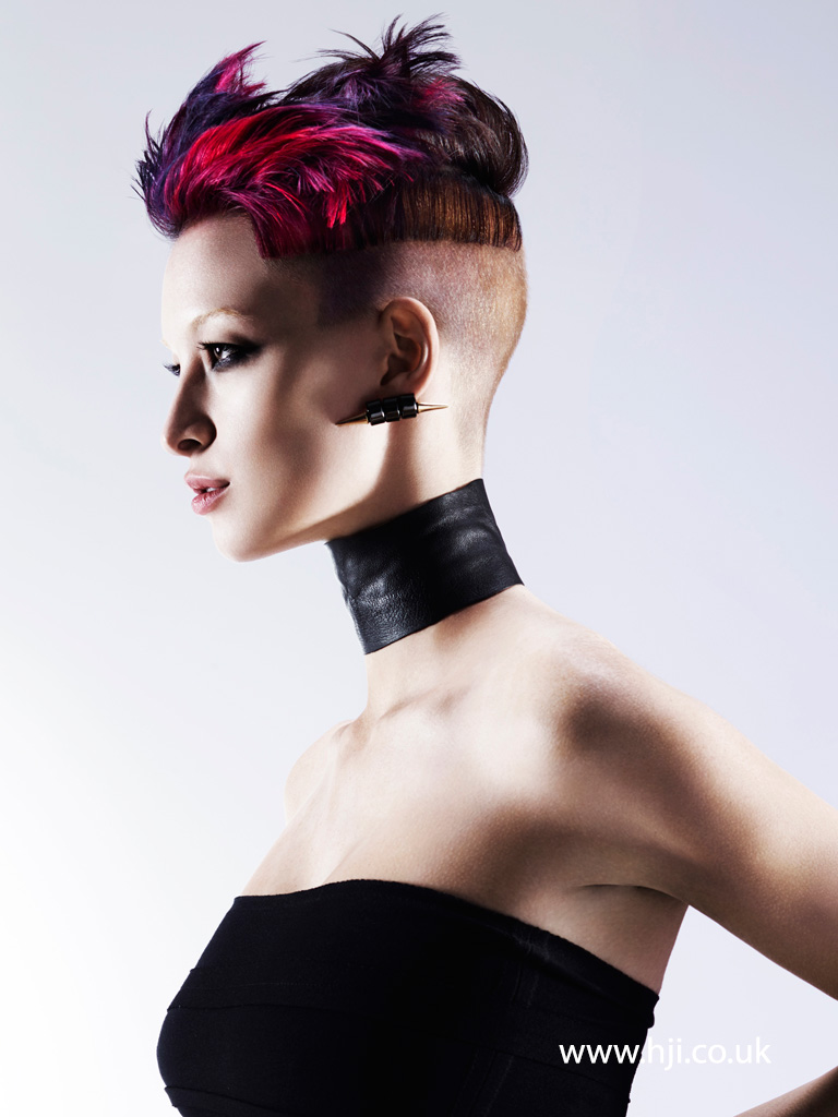 Pixie Undercut with Vibrant Pink and Purple Chunky Pieces