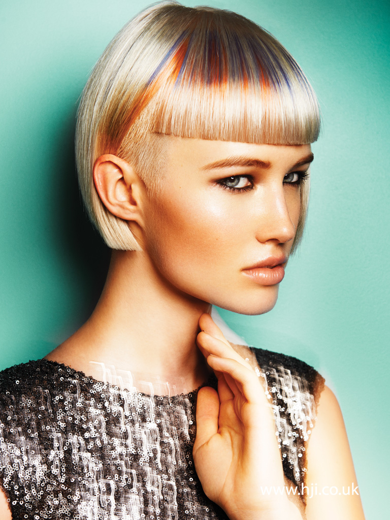 2015 Platinum Sharp Blunt Bob with Pastel Slices Through Fringe