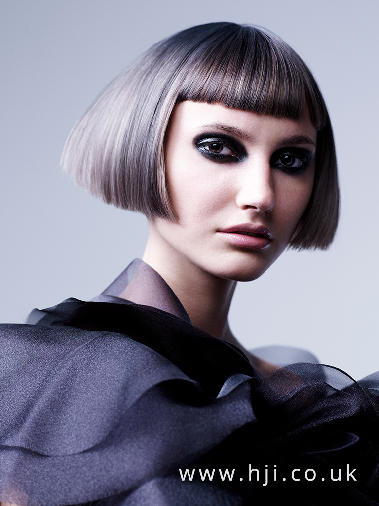 2015 blunt Box bob with Fringe and metallic grey panelling
