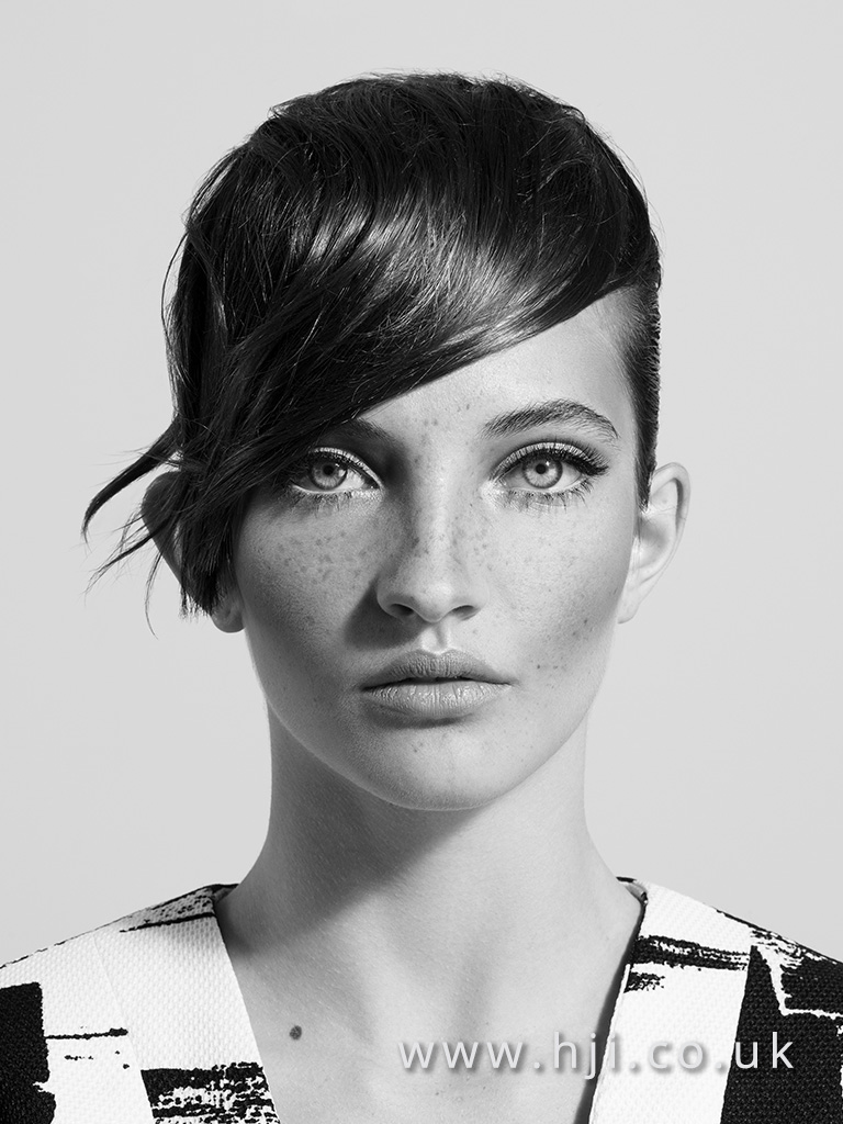 2015 brunette pixie crop with asymmetric fringe