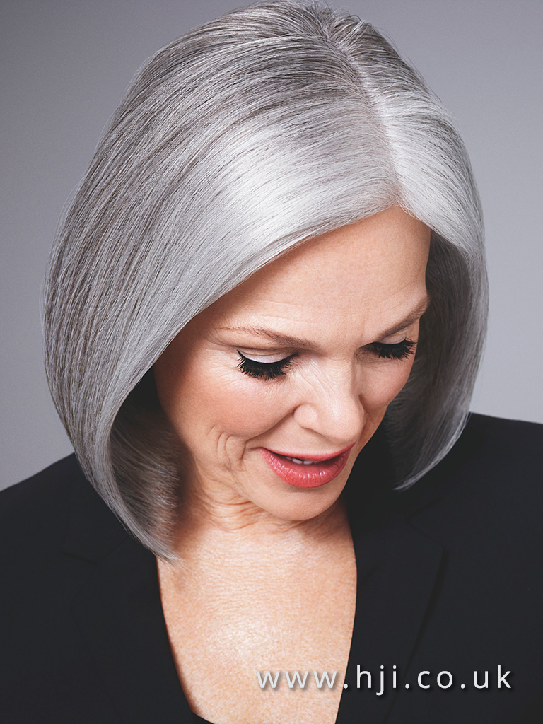 2015 sleek blunt bob with grey and silver panelling