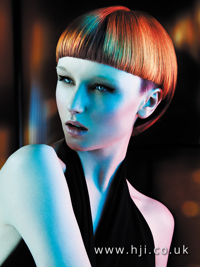 2015 copper bob hairstyle with blunt fringe and undercut