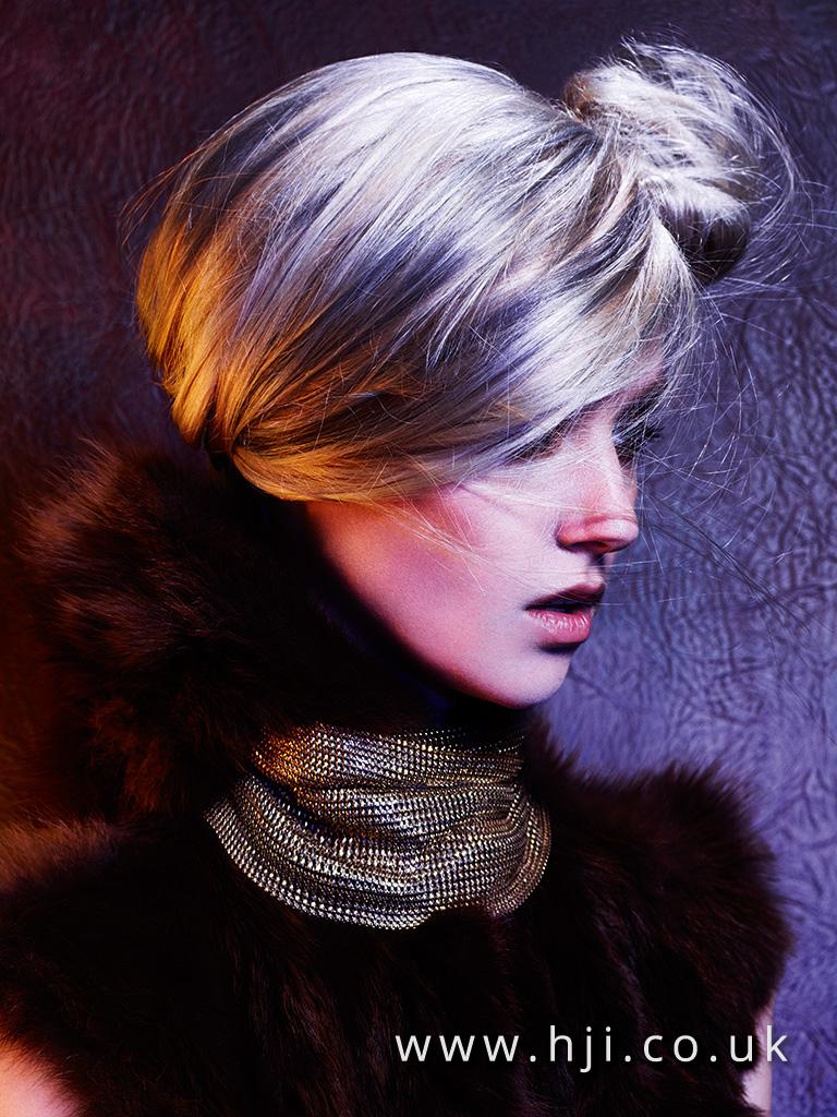 2015 metallic blonde sleek updo with bun detail