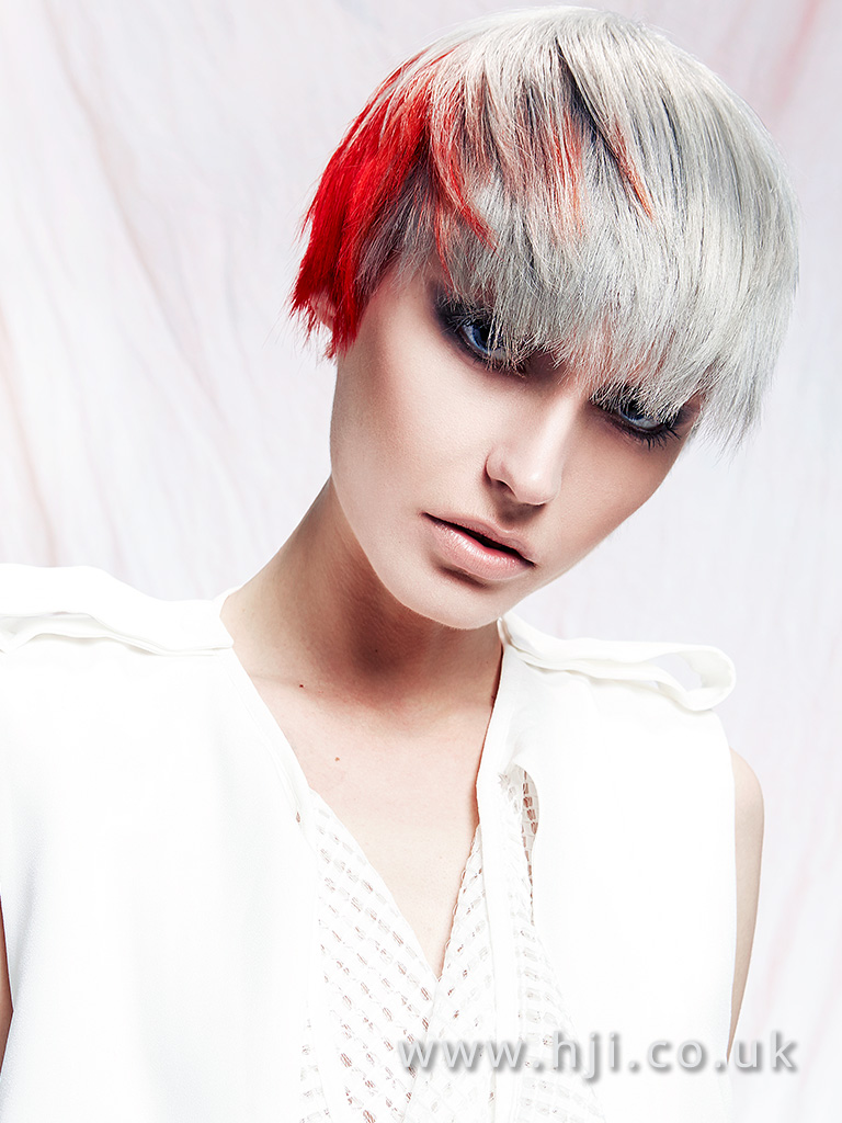Choppy pixie crop with grey and bright red pannelling