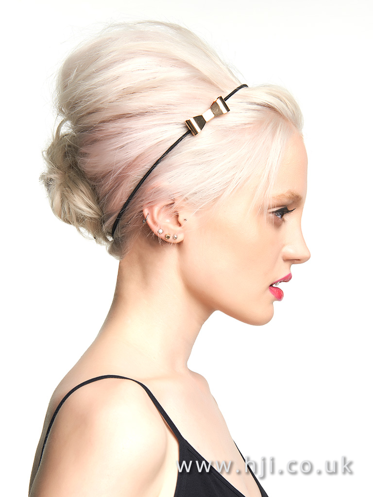 Platinum beehive with pastel pink slices and headband detail
