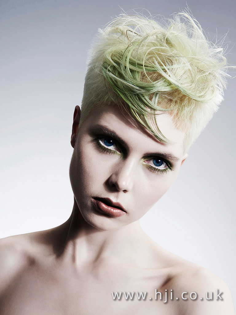 2015 Short shaved platinum blonde with longer panel and pastel green detailing