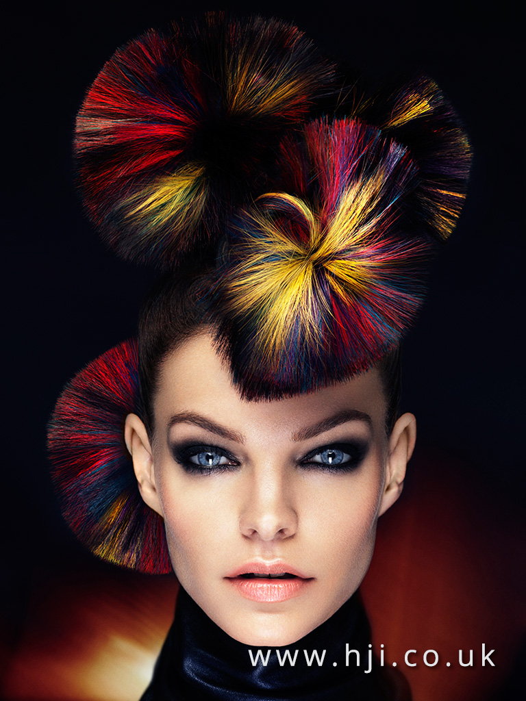 2016 Avant Garde hairup with circle detail and vibrant sliced block colour