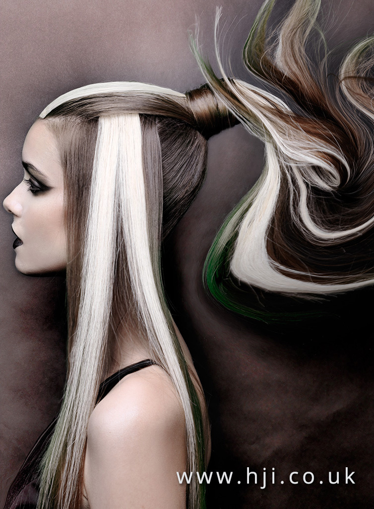 2016 Avant garde ponytail with block colour panels 5