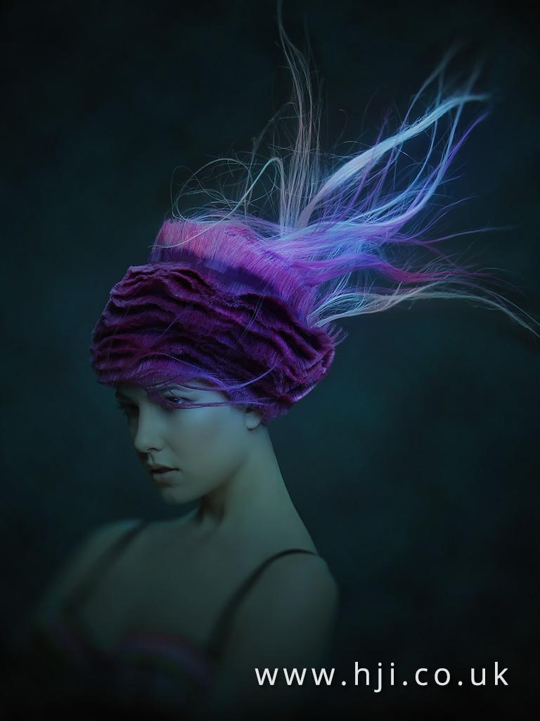 2016 Avant garde purple textured up do with flyaway strands 4