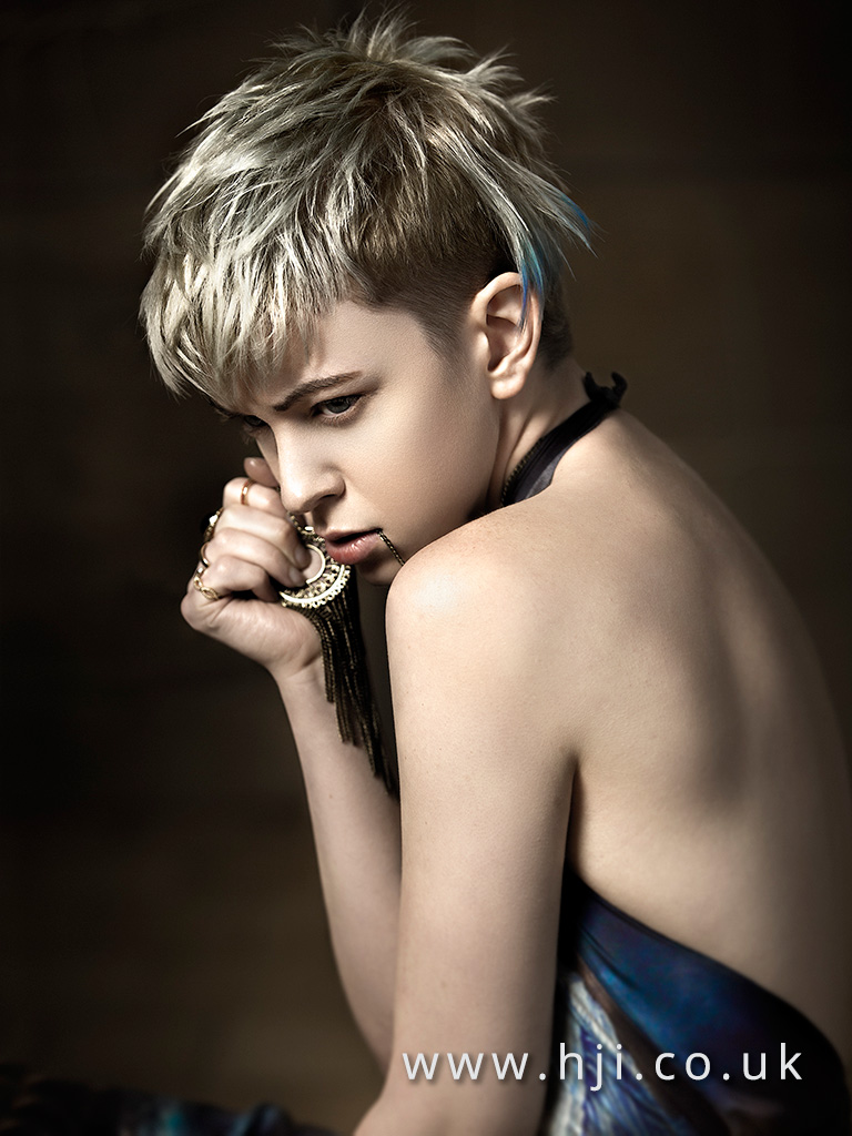 2016 Beige metallic blonde disconnected crop with undercut and blue tip detail