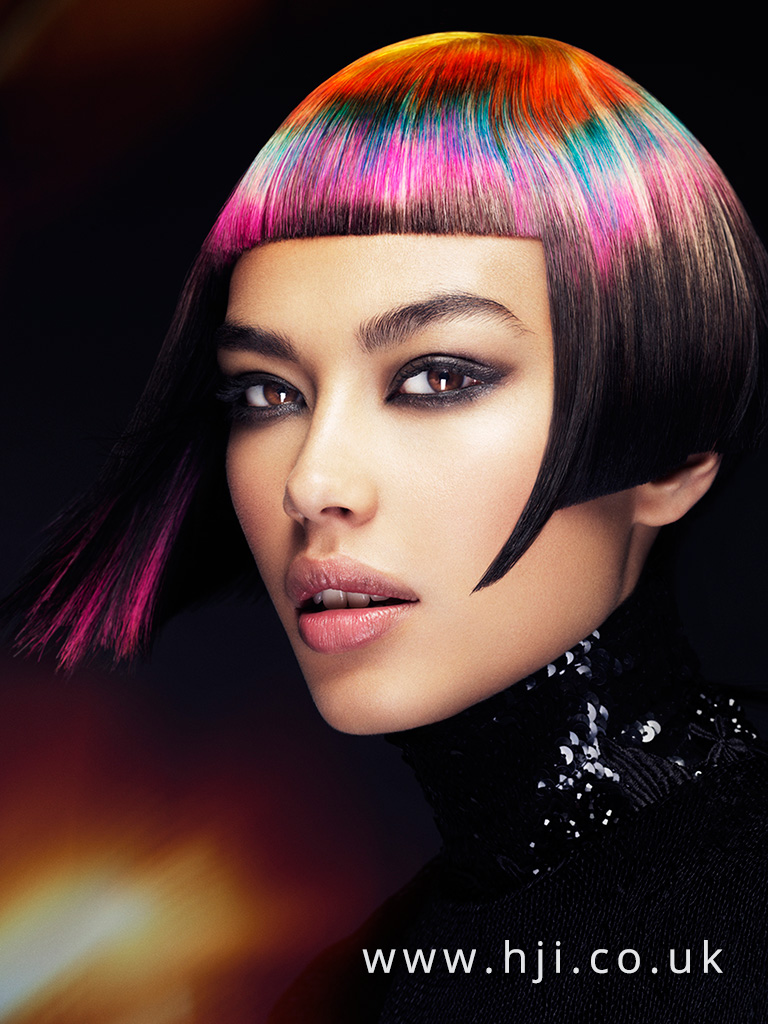 2016 Blunt box bob with sharp fringe and melted and sliced pink green blue yellow bold colour