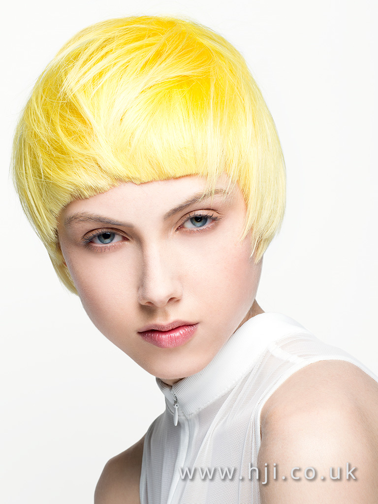 2016 Canary yellow mod crop with blunt rounded fringe