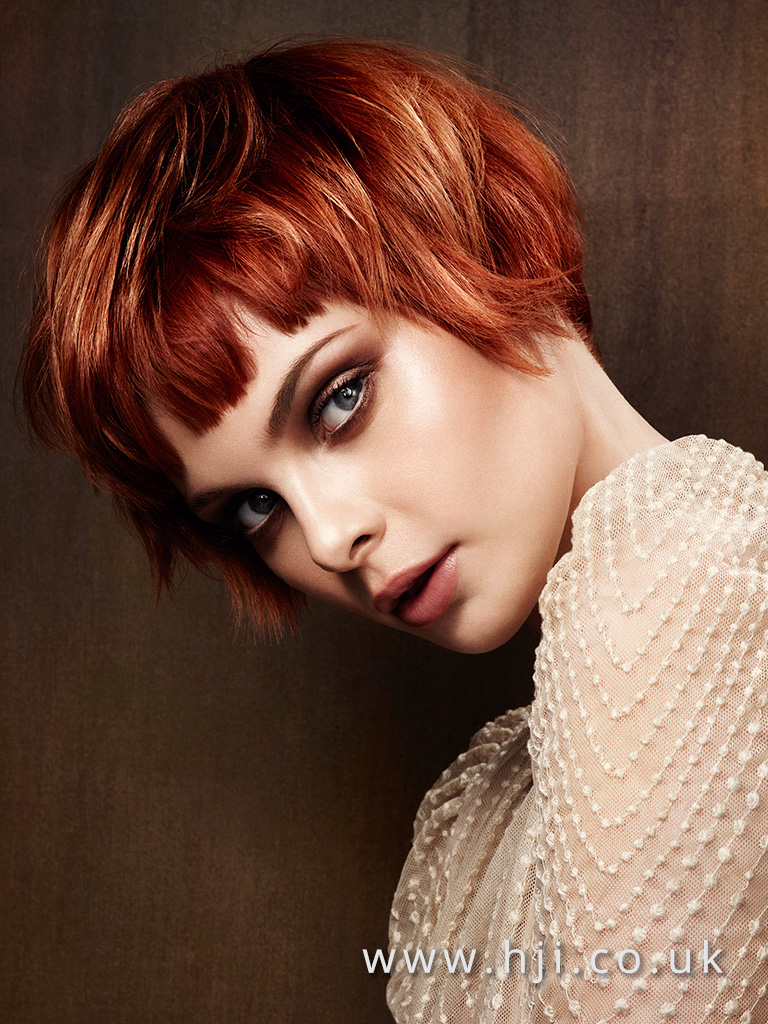 2016 Copper with blonde highlights choppy box bob with blunt piecy fringe
