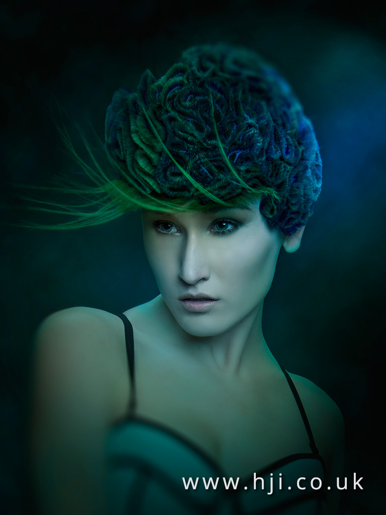 2016 Green and blue short rose textured up do 3