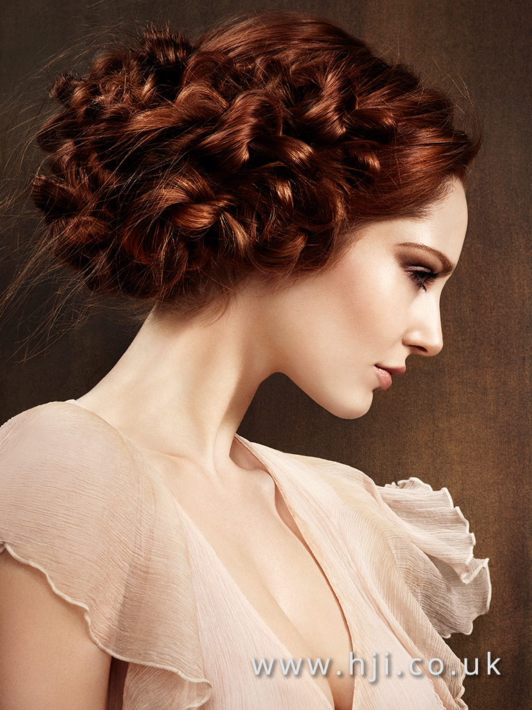 2016 Knotted up do rich copper with smooth texture