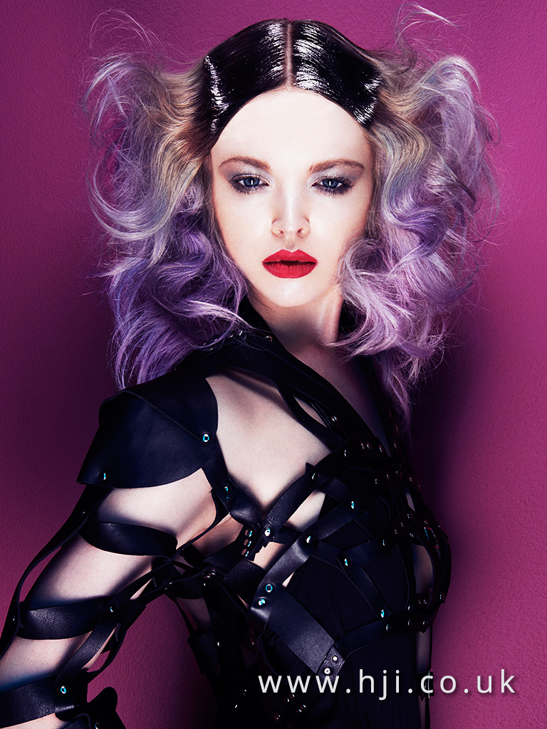 2016 Long curly lilac with sleek roots and centre parting