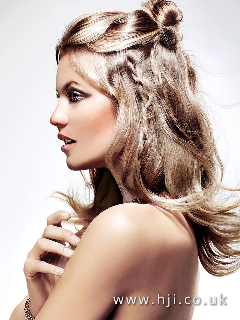 2016 Long smokey blonde with braid and bun detail