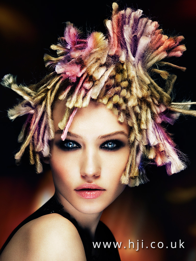 2016 Multi coloured avant garde style with dreaded pieces and asymmetric